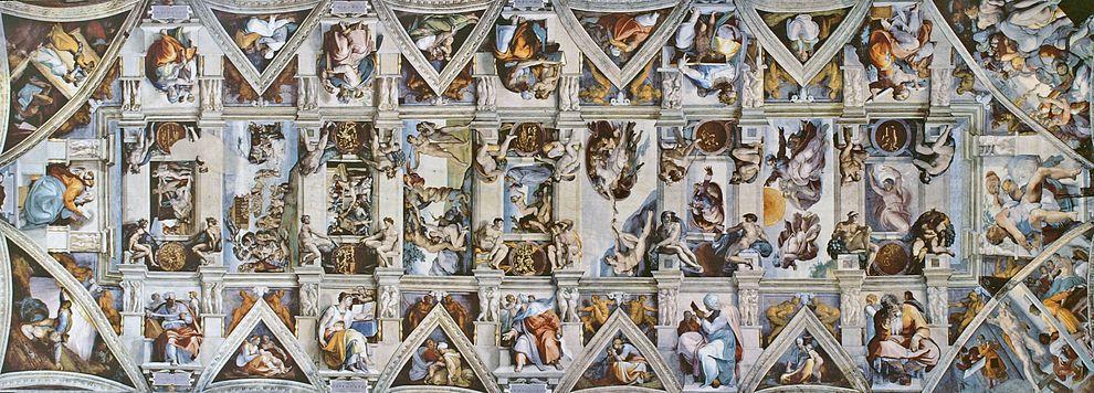 Изрисуваният потон на Сикстинската капела в Рим 1508-1512