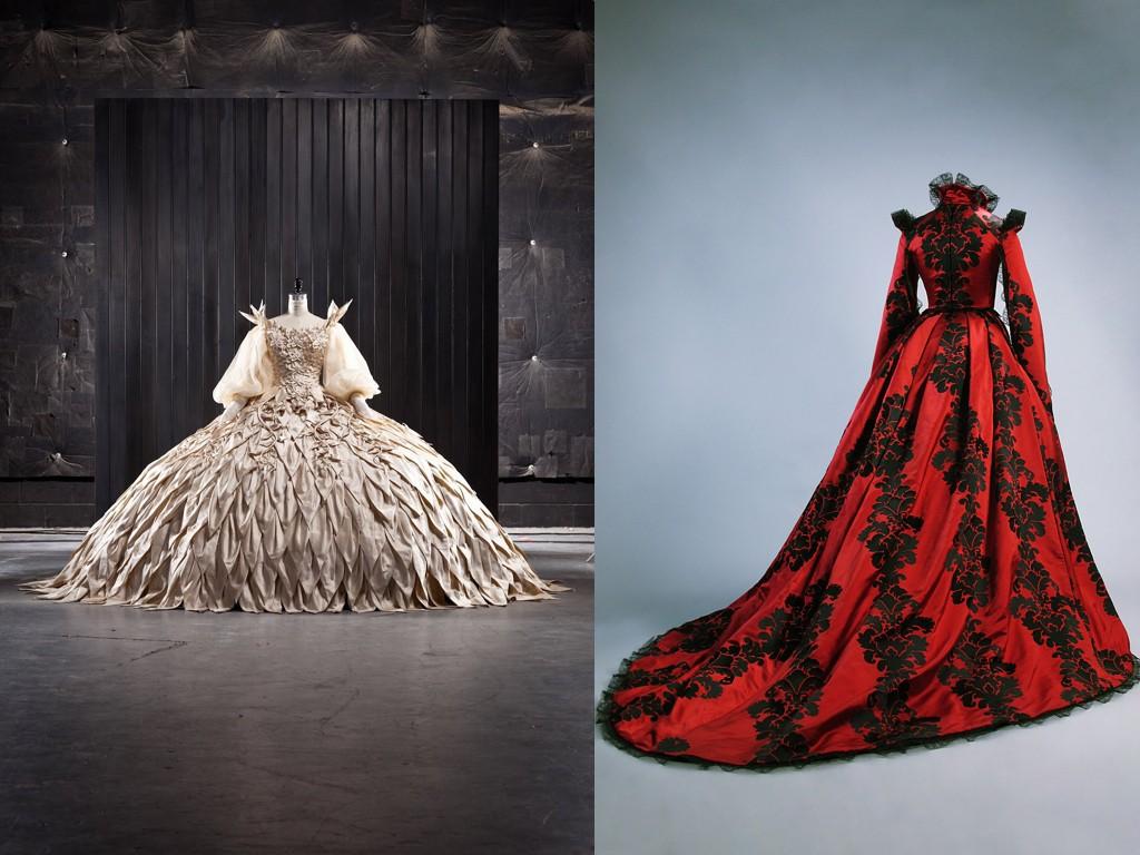 Булчинска рокля със 100 000 кристала, дизайнер Еико Ишиока за Mirror Mirror 2012, Рокля на кралицата от Tale of Tales 2015, дизайнер Масимо Парини