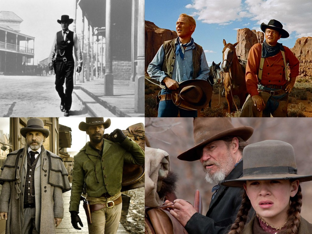 High Noon 1952, The Searchers 1956, Django Unchained 2012, True Grit 2010