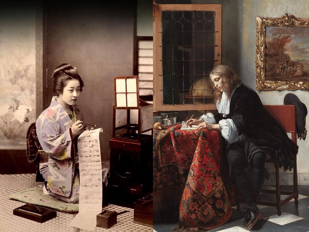 """""""Писане на писмо"""" фотография на Кусакве Кимбей / """"Мъж пише писмо"""" картина на Габриел Метсю"""
