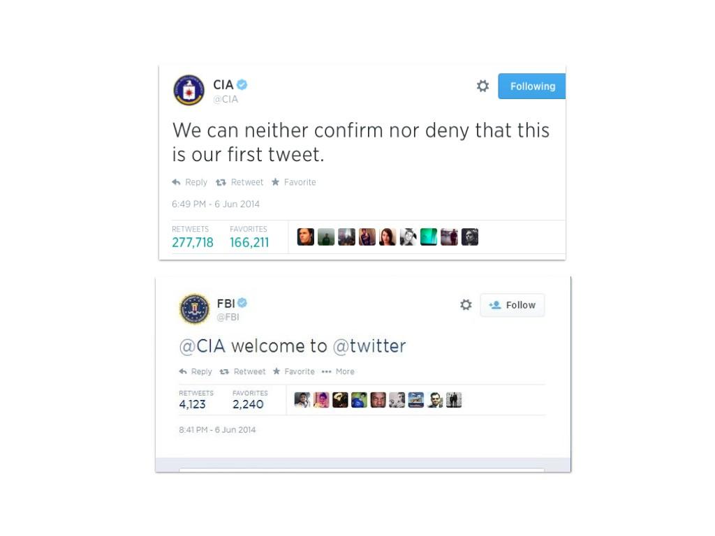 Първият саркастичен и официален туит на ЦРУ, след който Агенцията печелеше по 1000 последователя в минута. И прекият отговор на ФБР, който го потвърди.