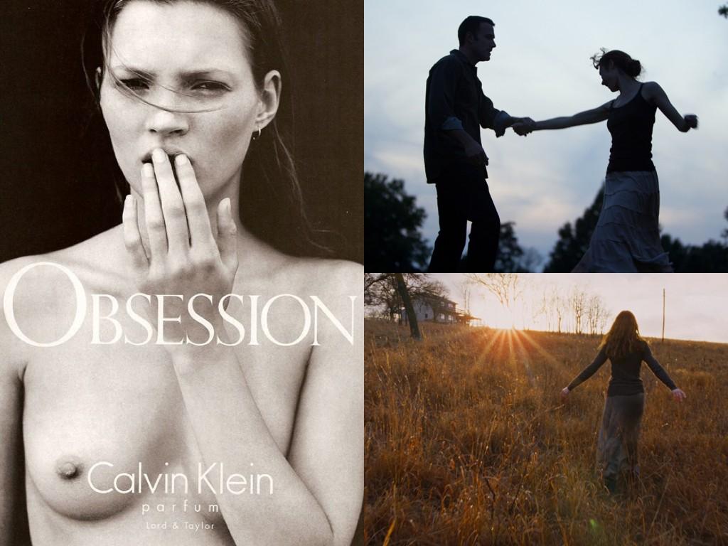 Кейт Мос в реклама на Obsession 1992 / Кадри от To the Wonder 2012