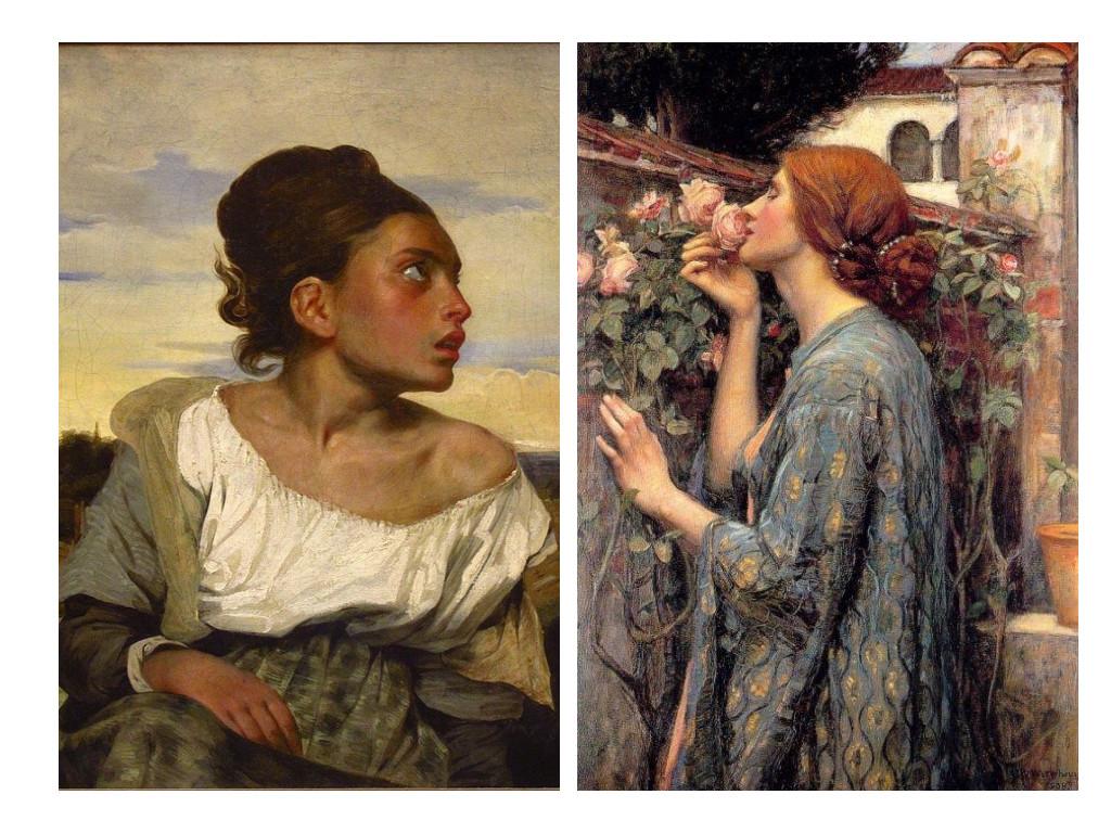 Осиротяло момиче на гробището (1823) – Йожен Дьолакроа / Душата на розата (1908) – Джон Уилям Уотърхаус