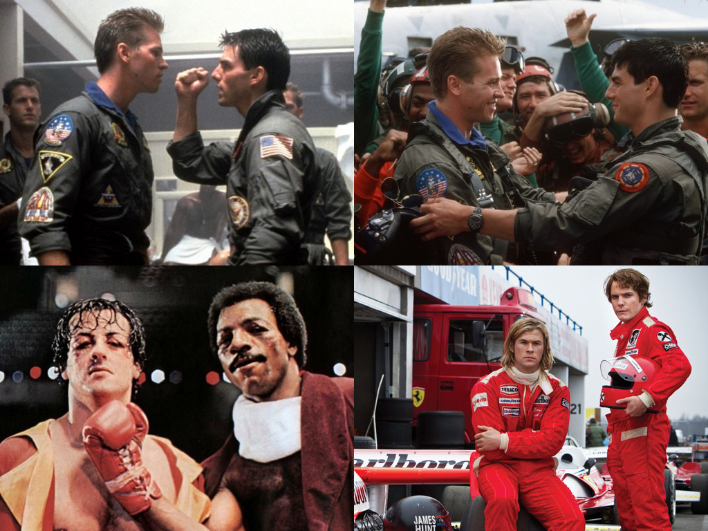 Top Gun 1986, Rocky II 1979, Rush 2013