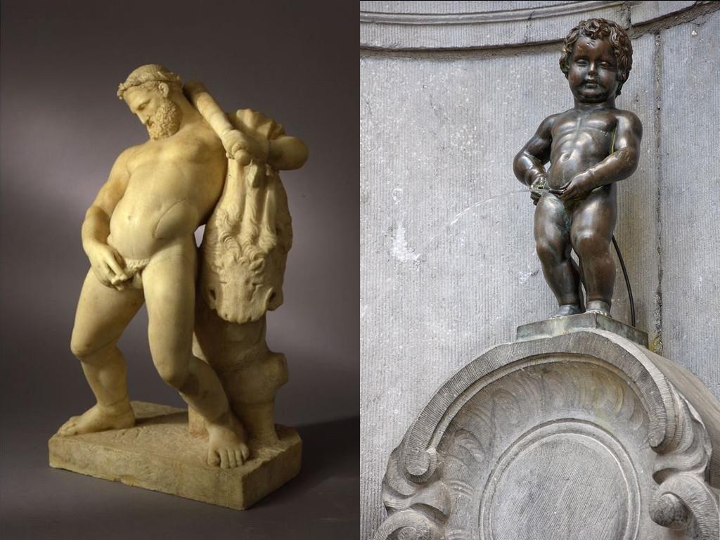 Пияният Херкулес, мраморна статуя, 1-ви век / Manneken Pis, бронзова статуя символ на Брюксел, 17-и век
