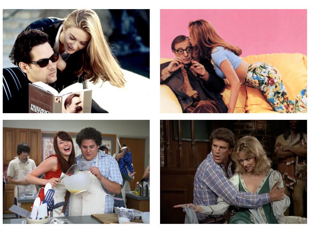 Clueless 1995, Mighty Aphrodite 1995, Superbad 2007, Сам и Даян от Cheers 1982-1993 са обърната двойка, тя е умната, той красивият.