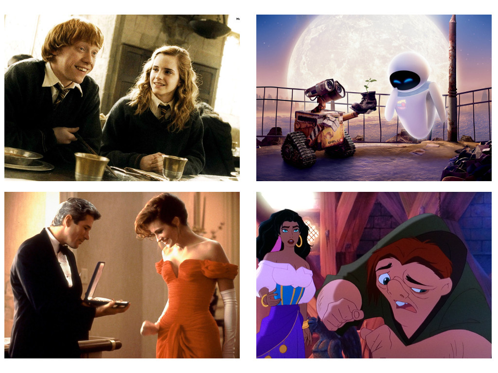 Harry Potter and the Half-Blood Prince 2009, WALL*E 2008, Pretty Woman 1990, The Hunchback of Notre Dame 1996