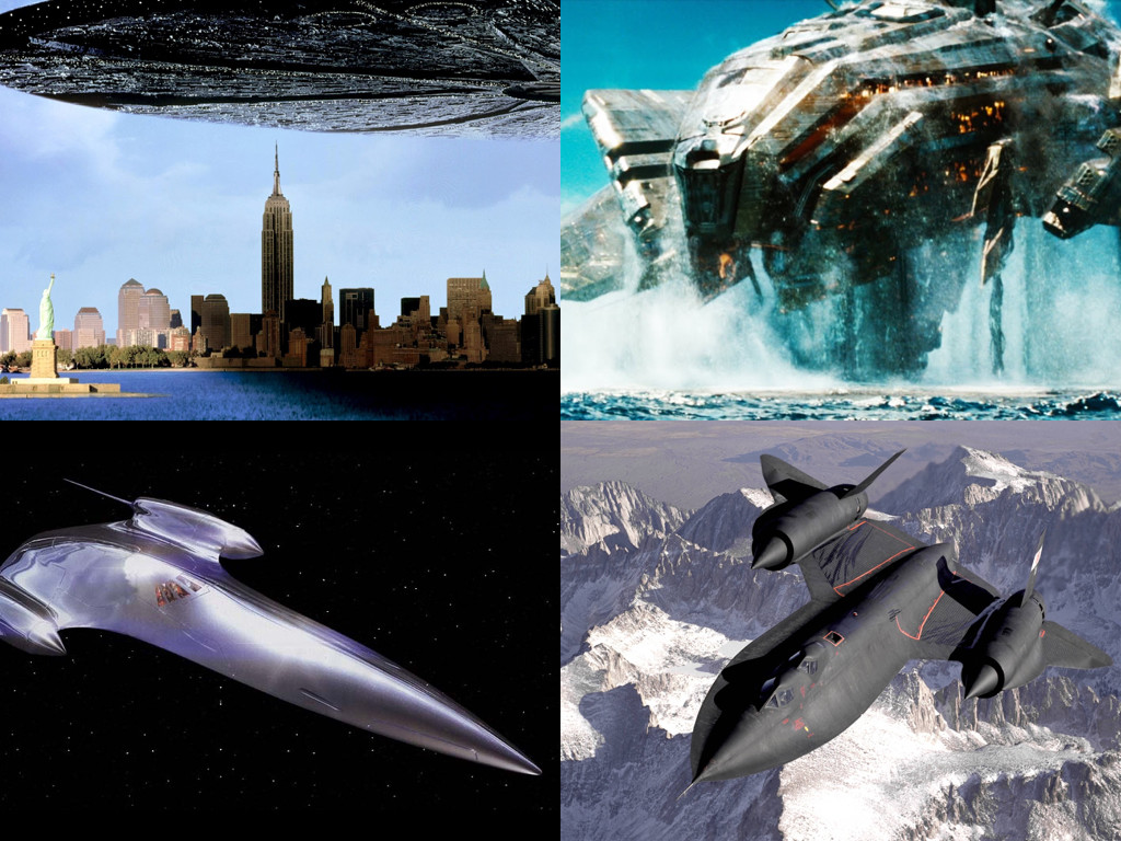 Independence day 1996, Battleship 2012, Star Wars - J-type 327 Nubian Royal Starship, Lockheed SR-71