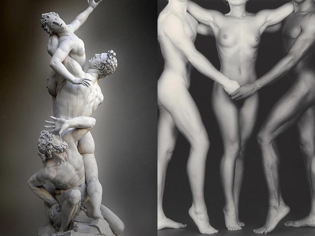 """Джамболоня """"Похищението на сабинянките"""", 1574-82 / Робърт Мейпълторп """"Кен и Лидия, и Тайлър"""", 1985"""