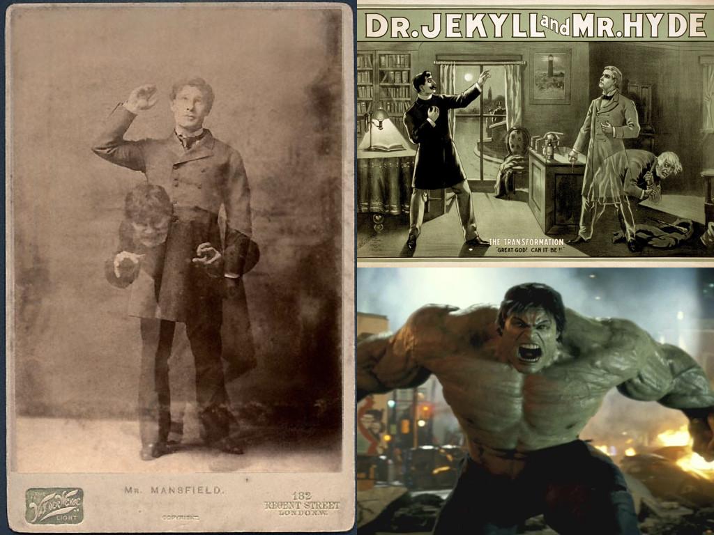 Ричард Мансфийлд играе Джекил и Хайд в постановката от 1887 – 1888 / The Incredible Hulk 2008