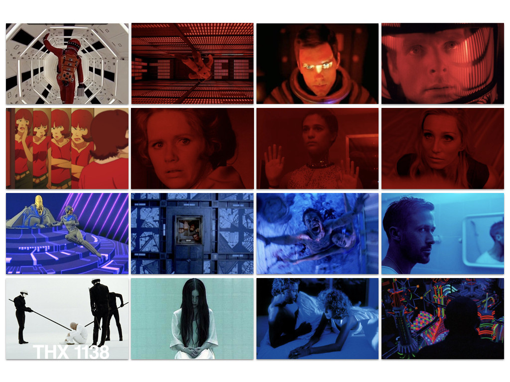 Кадри от: 2001: A Space Odyssey 1968 / Paprika 2006 / Cries & Whispers 1972 / Еx Machina 2015 / Only God Forgives 2013 / Tron 1982 / Cube 1997 / Bug 2006 / THX 1138 1971 / The Ring 2002 / Manhunter 1986 / Enter the Void 2009