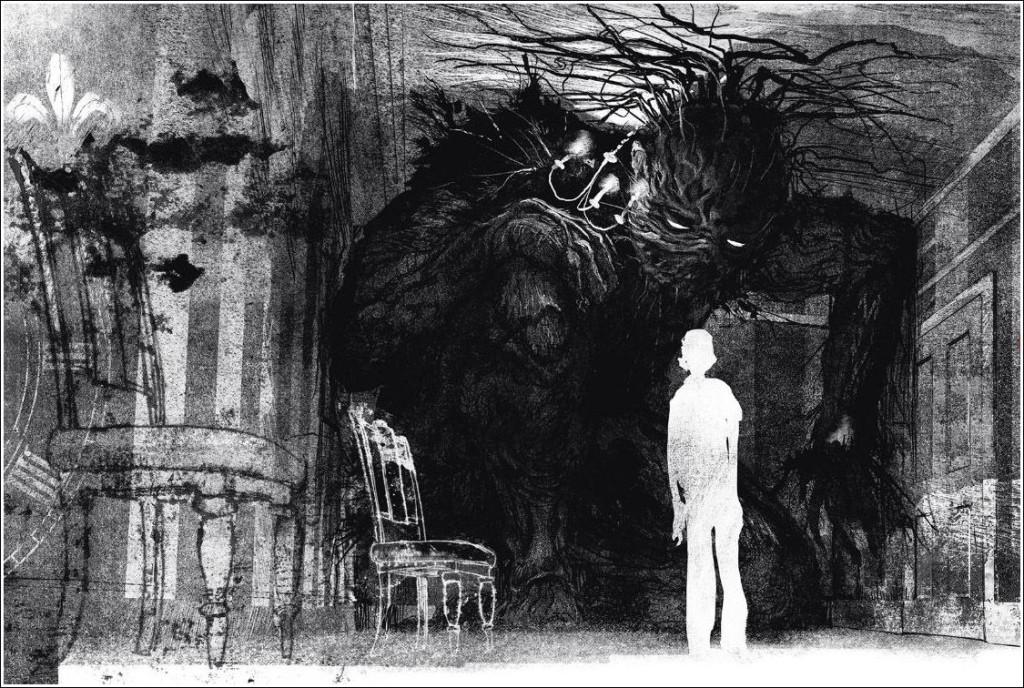 Илюстрация на Джим Кей към книгата A Monster Calls