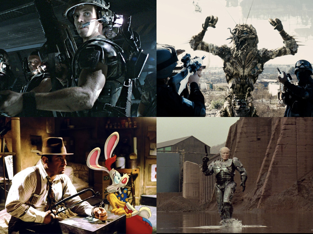 Aliens 1986 / District 9 2009 / Who Framed Roger Rabbit 1988 / RoboCop 1987