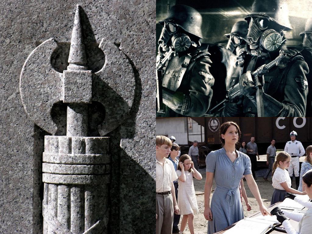 Символът на фашистите са фасциите – сноп пръчки около брадва, древноримски символ на властта на гражданските магистрати / Iron Sky 2012 / The Hunger Games 2008
