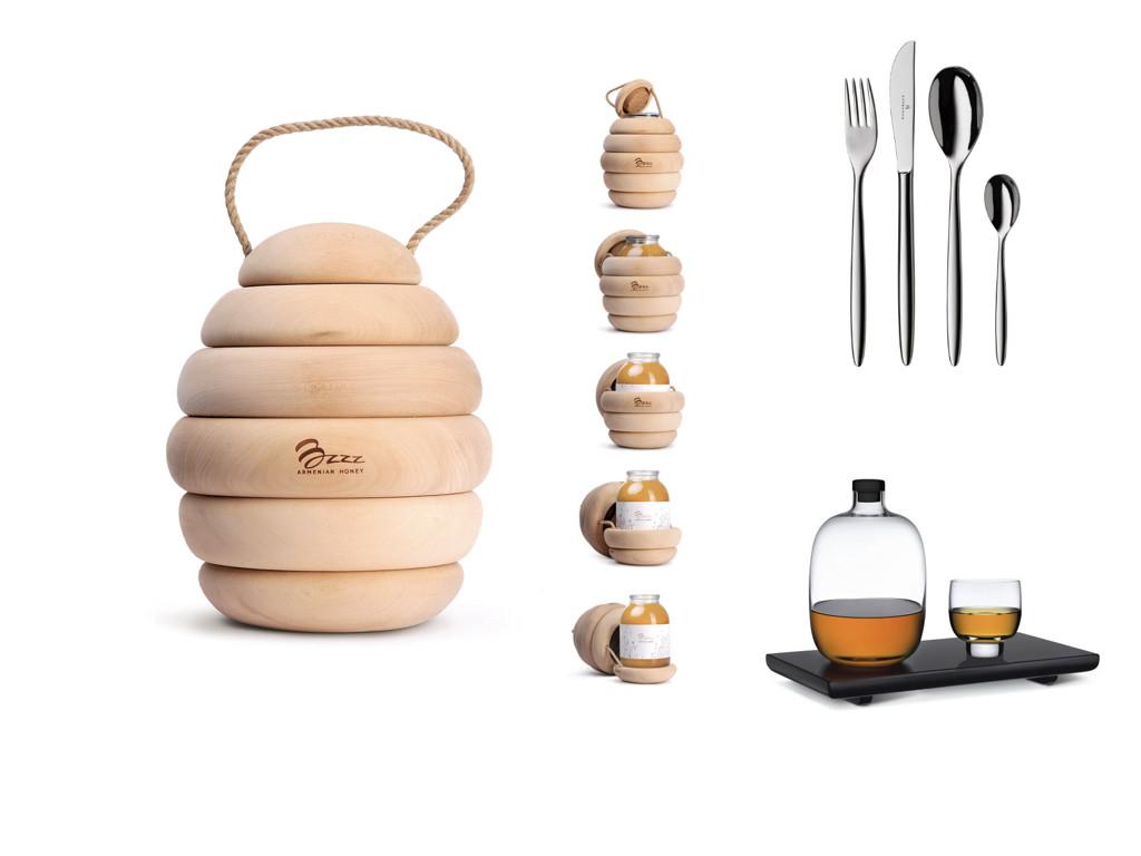 Мед Bzzz – дизайн Backbone branding / Прибори Besteck – дизайн Auerhahn / Уиски сет – дизайн Mikko Laakkonen