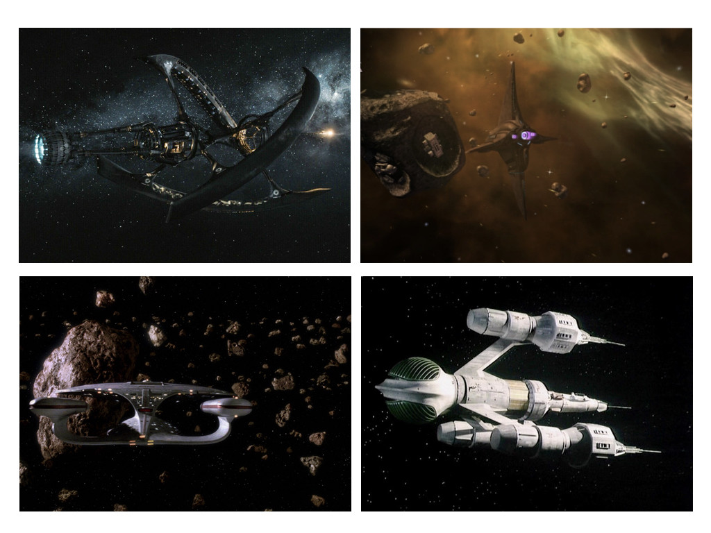 Passengers 2016 / Battlestar Galactica 2004-2009 / Star Trek: The Next Generation 1987-1994 / Blake's 7 1978-1981