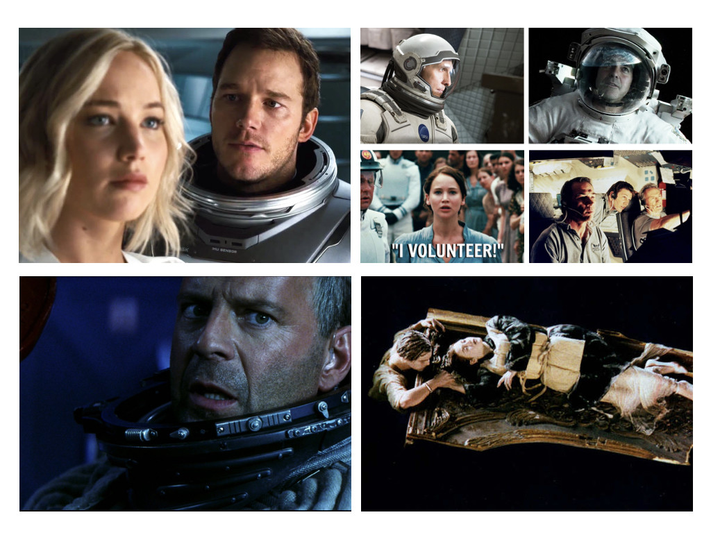 Passengers 2016 / Interstellar 2014 / Gravity 2013 / The Hunger Games 2012 / Space Cowboys 2000 / Armageddon 1998 / Titanic 1997