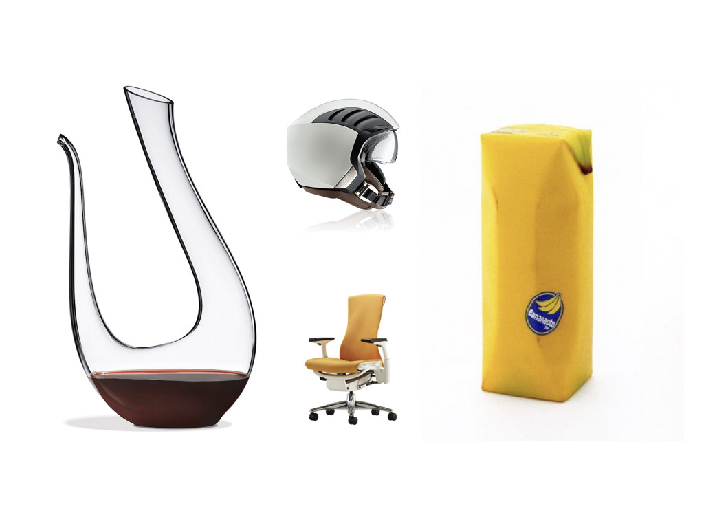 Декантер за вино – дизайн Riedel Amadeo / Каска AirFlow 2 – дизайн BMW / Стол Embody – дизайн Bill Stumpf и Jeff Weber / Опаковка за сок Juice Skin - дизайн Naoto Fukasawa
