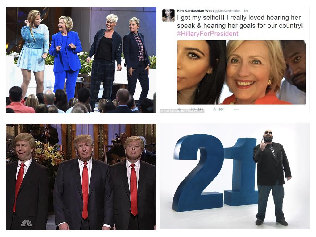 Хилари Клинтън танцува, заедно с Пинк и комиците Ейми Шумър, и Елън Дедженеръс, 2015 / Селфи на Ким Кардашиън и Клинтън, 2015 / Доналд Тръмп с двама комедийни актьори, които го имитират - Saturday Night Live, 2015 / Български кандидат-депутат рапира, 2017