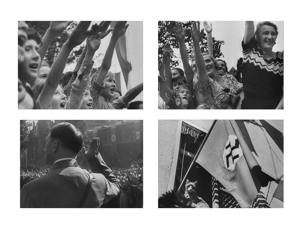 Triumph des Willens / Triumph of the Will 1935 – тълпите приветстват фюрера. Лени Рифенщал слага дори кадър с котка, за да внуши, че дори и животните се радват в подобни моменти.