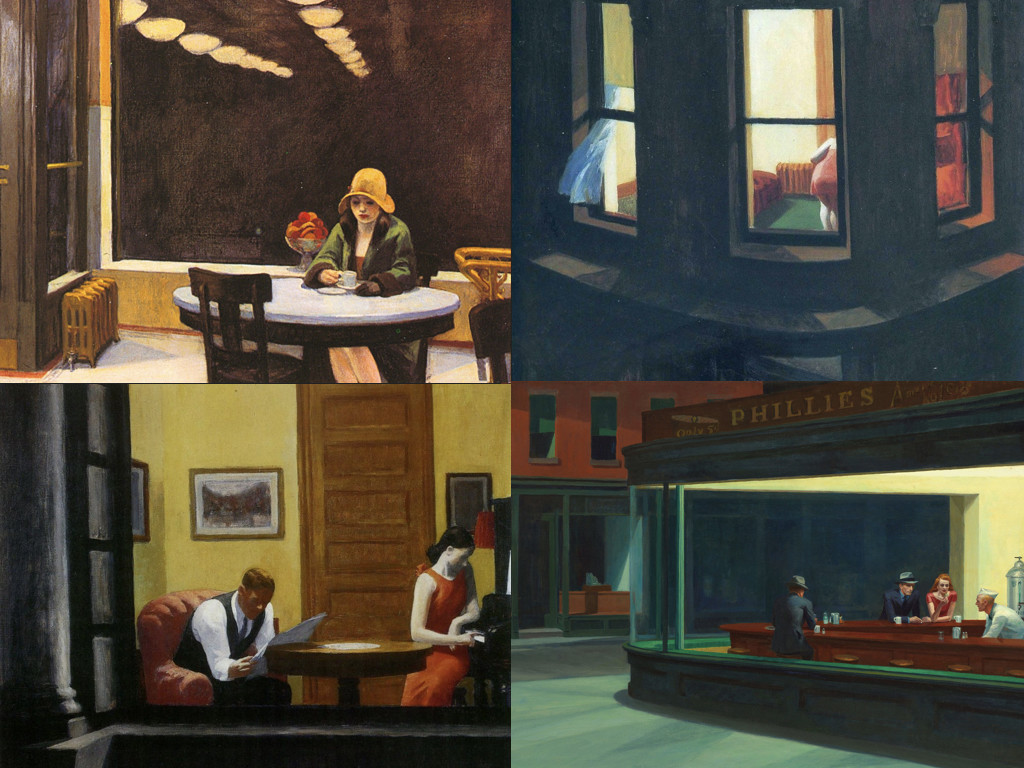 Едуард Хопър: Automat 1927 / Night Window 1928 / Room in New York 1932 / Nighthawks 1942