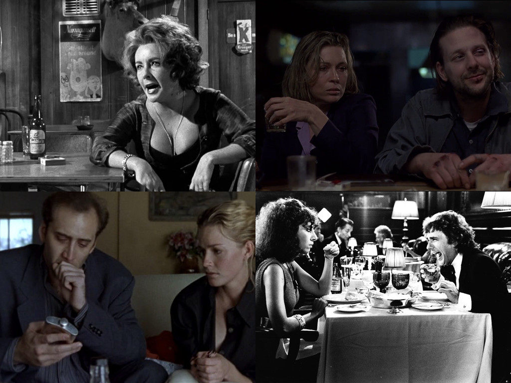 Автентични алкохолици от света на киното: Who's Afraid of Virginia Woolf? 1966, Barfly 1987, Leaving Las Vegas 1995, Arthur 1981