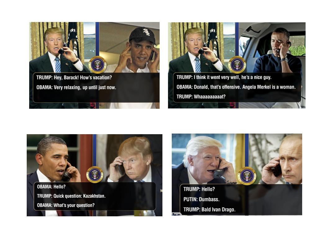 """Телефонните обаждания на Тръм с Обама и Путин – серия добре написани и смешни диалози от """"Шоуто на Конан О'Брайън""""."""