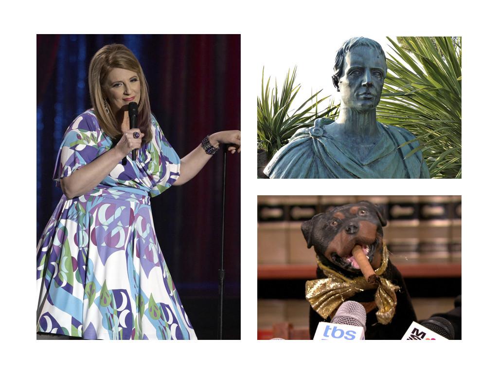 Лиза Лампанели – самопровъзгласилата се кралица на обидата / Гай Валерий Катул – римският поет не се свенял да е саркастичен дори с Цезар / Триумф обиждащото куче – зад куклата се крие комикът Робърт Смигъл