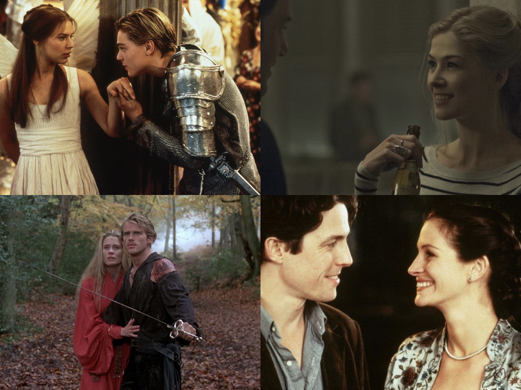 Romeo + Juliet 1996 / Gone Girl 2014 / The Princess Bride 1987 / Notting Hill 1999