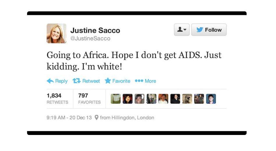 """""""Отивам в Африка. Дано не хвана СПИН. Шегувам се. Аз съм бяла!"""" – Опитът за черен хумор на Джъстин Сако, ПР експертка, която разруши живота си в един туит, пуснат от летището."""