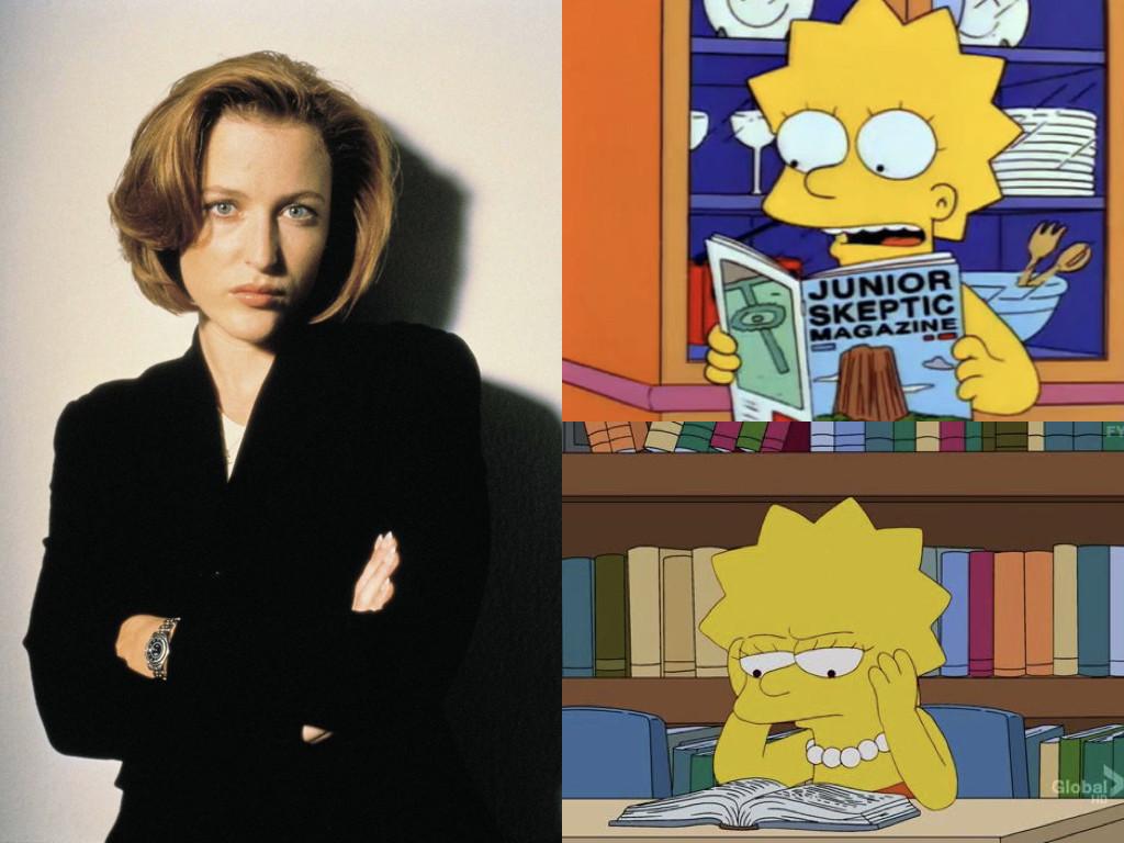 Двама скептици – Дейна Скъли (The X-Files 1993-) и Лиса Симпсън (The Simpsons 1989-)