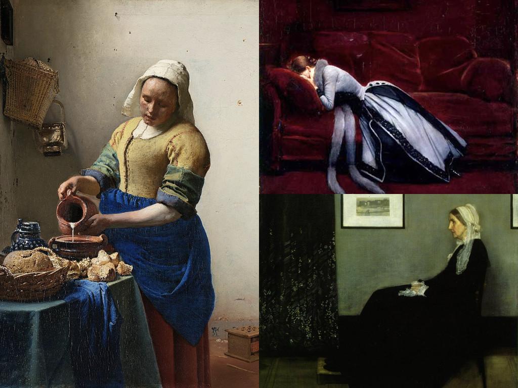 Млекарка, Йоханес Вермер 1657-1658 / След грешката - Жан Беро 1885-1890 / Майката на Уистлър - Джеймс Уистлър 1871
