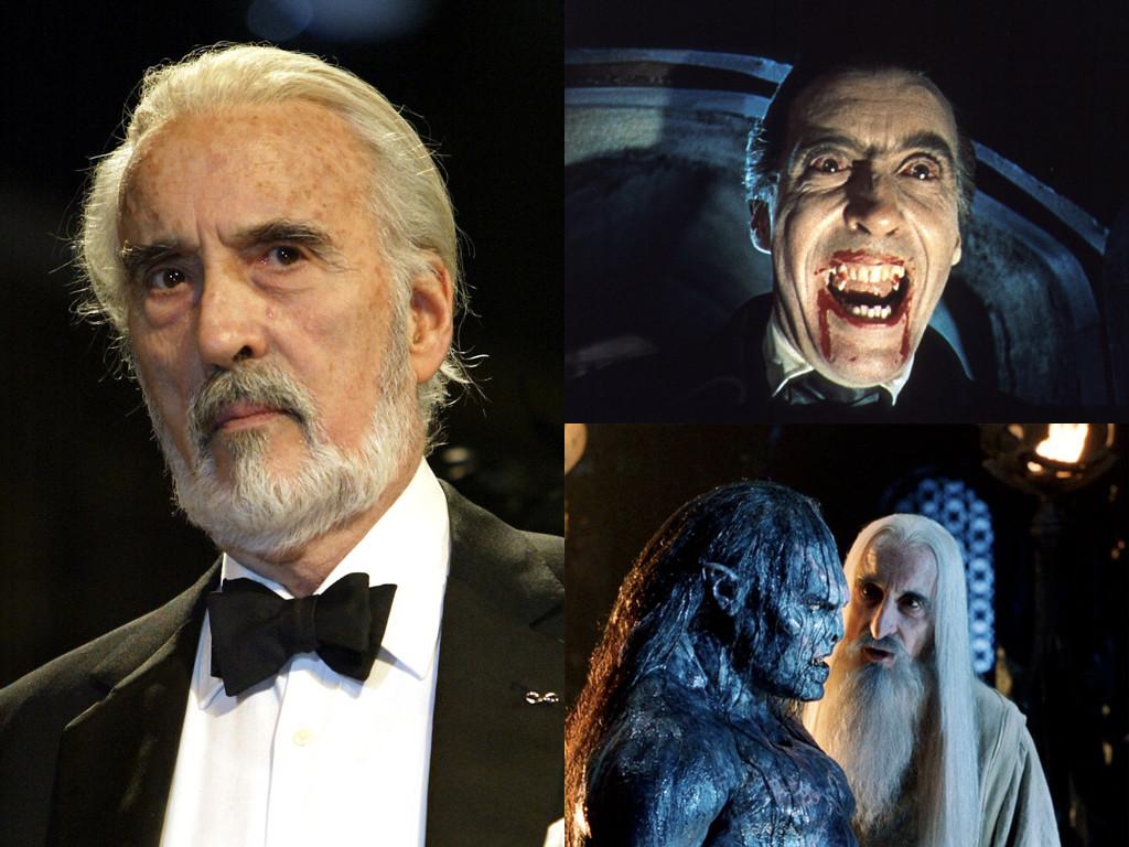 "Dracula 1958 – Бела Лугоши не носи зъбни протези, Лий прави ""вампирските зъби"" популярни / като Саруман в The Lord of the Rings: The Fellowship of the Ring 2001"