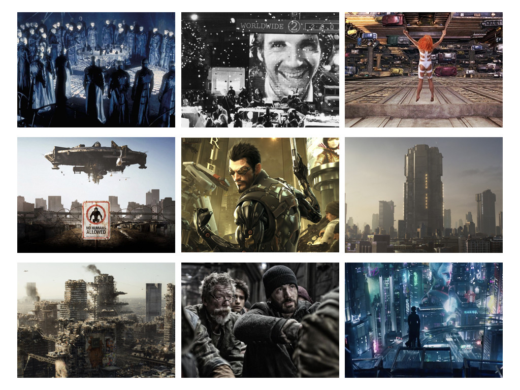 Dark City 1998 / Strange Days 1995 / The Fifth Element 1997 / District 9 2009 / Deus Ex 2011 / Dredd 2012 / Elysium 2013 / Snowpiercer 2013 / Ghost in the Shell 2017
