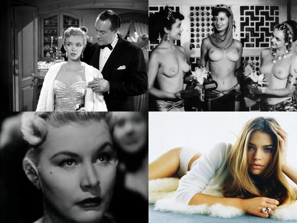 Мерилин Монро в All About Eve 1950 - играе себе си, амбициозна жена, която спи с критици и продуценти, за да пробие в Холивуд / София Лорен в Era lui... sì! sì! 1951, тук играе под името София Лазаро / Барбара Пейтън в Bad Blonde 1953 - официално е арестувана за проституция / Денис Ричардс отрича да е била проститутка, но не коментира била ли е ескорт