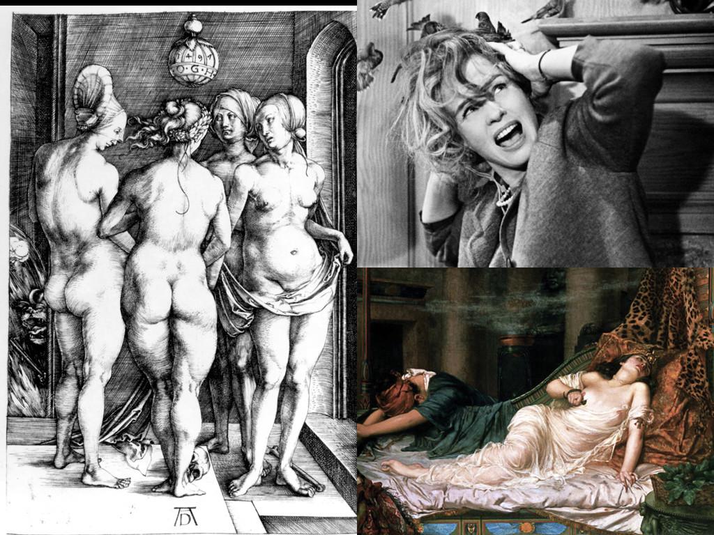 Четирите вещици (1497) – Албрехт Дюрер / The Birds 1963 / Смъртта на Клеопатра (1892) – Реджиналд Артър