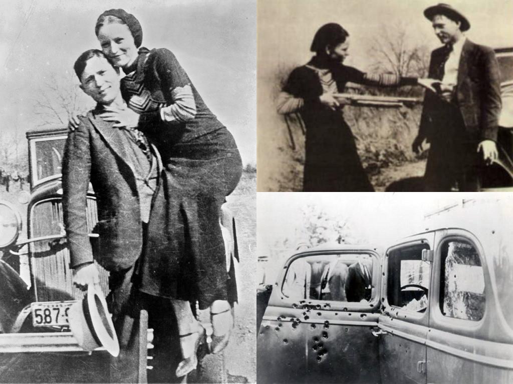 Бони и Клайд в периода 1932-1934 / вратата на автомобила, в който умират
