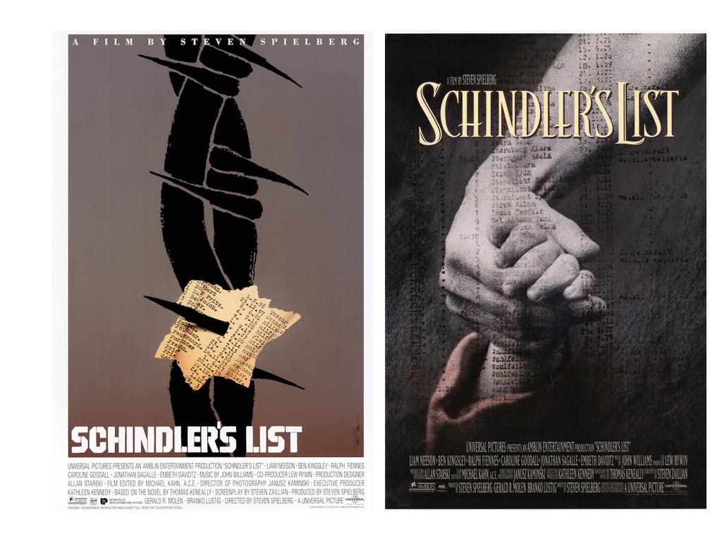 Ляво: едно от предложенията на Сол Бас / Дясно: официалният постер на Schindler's List 1993