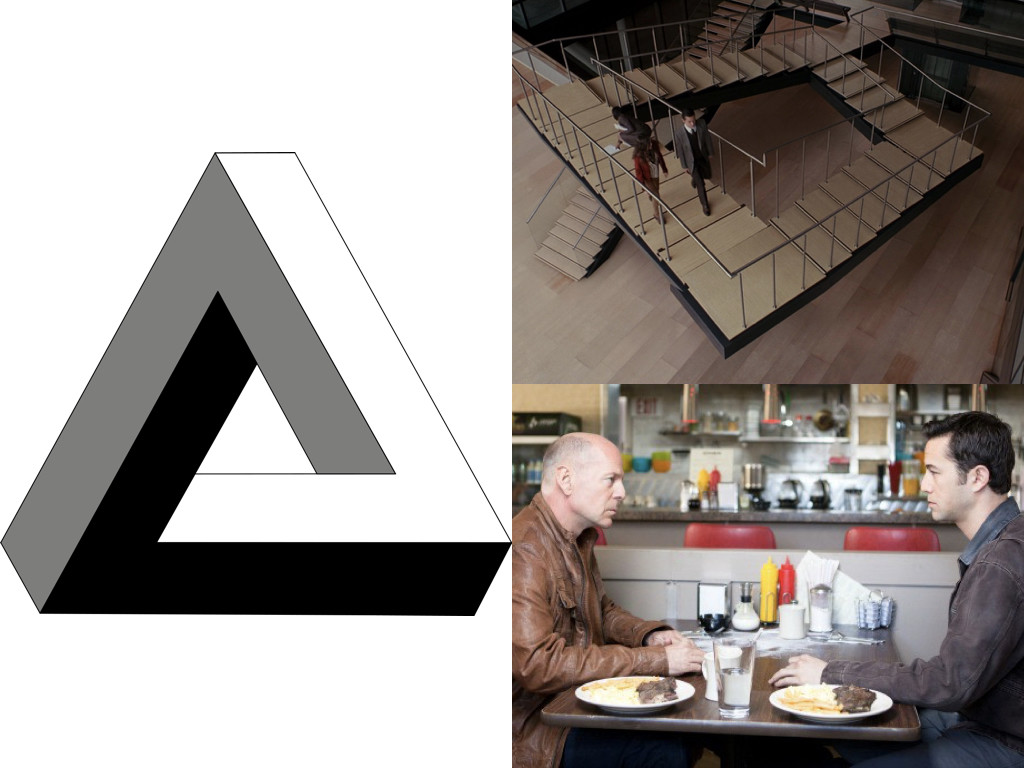 Триъгълник на Пенроуз / Стълби на Пенроуз в Inception 2010 / Времеви парадокс в Looper 2012