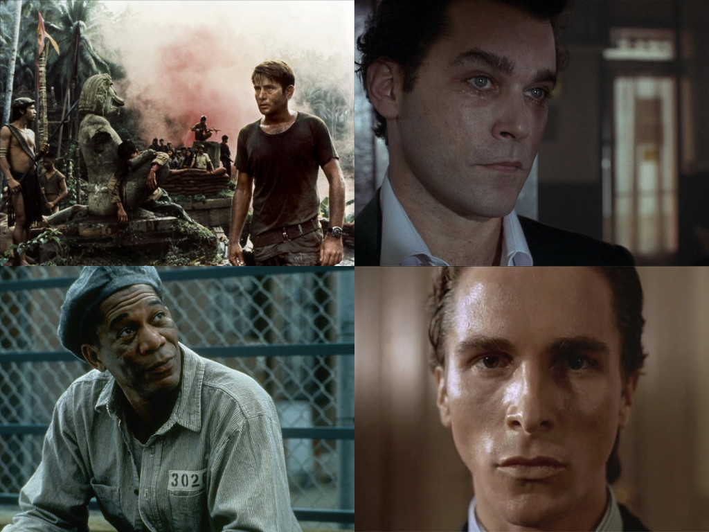 Филми използващи разказвач: Apocalypse Now 1979 / Goodfellas 1990 / The Shawshank Redemption 1994 / American Psycho 2000