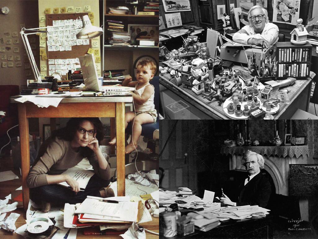 Тина Фей в офиса си / Рей Бредбъри и бюрото му / Марк Твен и бюрото му