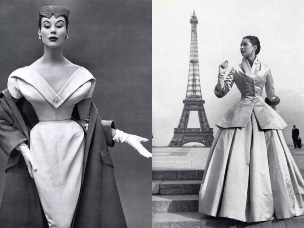 Ляво: Christian Dior 1953 / Дясно: Christian Dior 1947