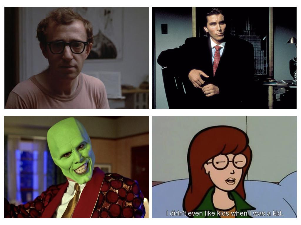 Завишен невротизъм - Annie Hall 1977 / Психотична личност - American Psycho 2000 / 100% екстравертност - The Mask 1994 / Тих, мизантропичен интроверт - Daria 1997-2002