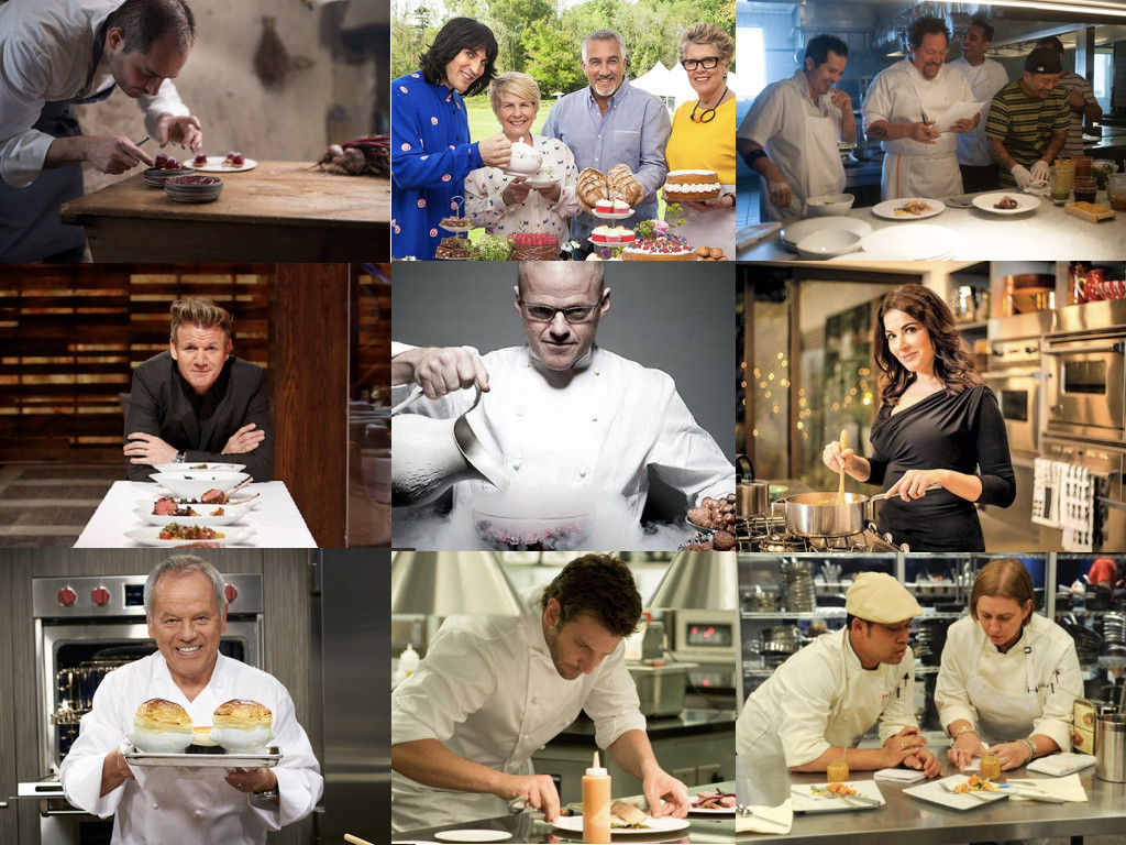 Chef's Table 2015- / The Great British Baking Show 2010- / Chef 2014 / MasterChef 1990- / Heston's Fantastical Food 2012 / Nigella: At My Table 2017- / Wolfgang Puck's Cooking Class / Burnt 2015 / Top Chef 2006-