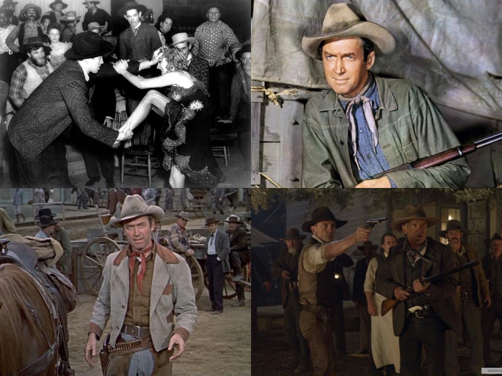 Джеймс Стюарт и Марлене Дитрих в Destry Rides Again 1939 / Стюарт в Winchester '73 1950 и The Far Country 1954 / Даниъл Крейг и Харисън Форд в Cowboys & Aliens 2011