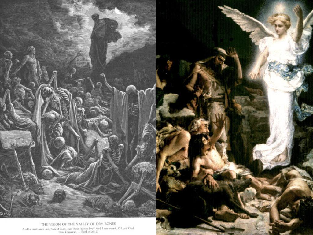 Видение Езекилево в Долината на костите, художник Гюстав Доре / Ангелът се явява на овчарите, художник Леон Франсоа Комер, 1875