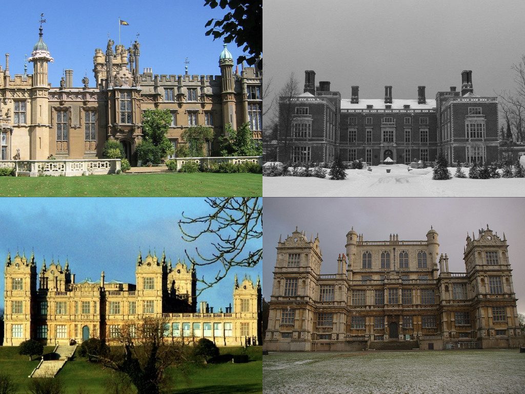 Снимки: Wikipedia: Knebworth House by Heron2 / Stevenson Taylor Hall / Mentmore Towers by Alex / Wollaton Hall by mattbuck
